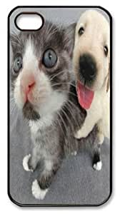 Art Fashion Black PC DIY Case for iPhone 4 Generation Back Cover Case for iPhone 4S with Cute Cat and Dog