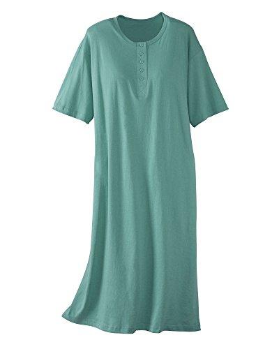 Womens Henley Nightshirt (National Big Comfy Sleepshirts, Seafoam)