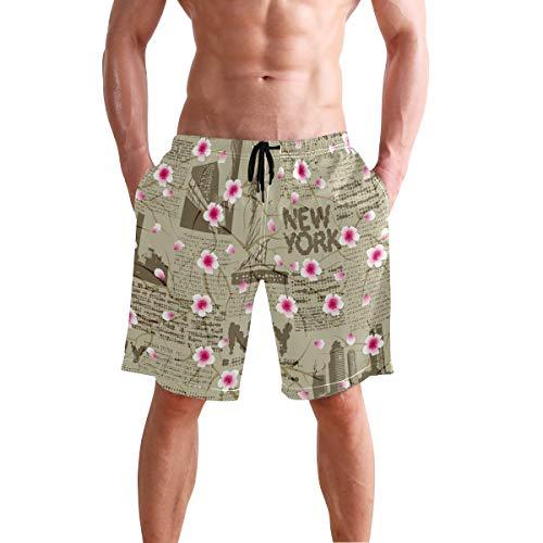 AUUXVA BETTKEN Men's Beach Shorts Floral Flower New York Sakura Swim Trunks Beachwear Quick Dry Summer Casual Sport Board Shorts Swimwear Bathing ()
