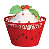 Paper Orchid Merry Christmas Cupcake Wrapper Red, Set of 12
