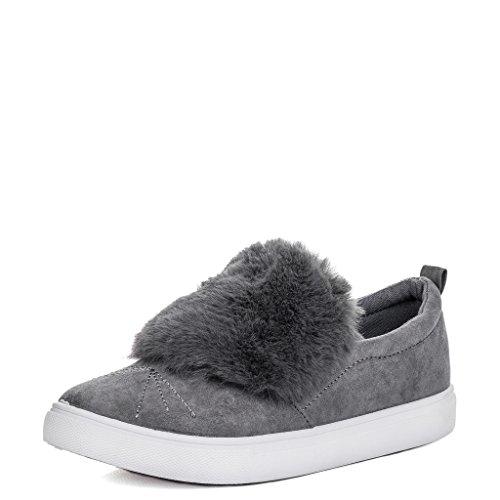 Women's Grey BONBON Shoes Suede SPYLOVEBUY Loafer Style Furry Flat 5Y4qxYwnRz