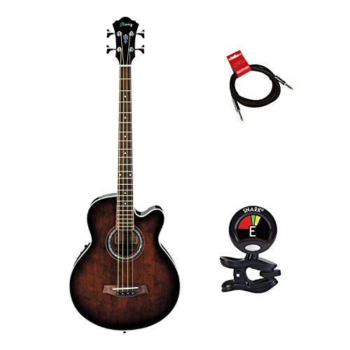 Ibanez Acoustic Electric Bass Guitar Package With Guitars Clip On Tuner and Guitars Cable (Electric Bass Guitar Bundle) in Dark Violin Sunburst