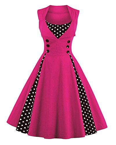 Swing Stile 1950 Abito da Classico Cocktail Rockabilly Donna Abito Retrò Anni Vintage Vestito Chic vgnt1x