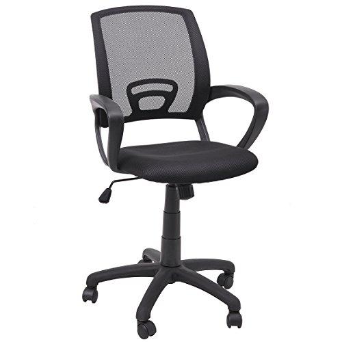 FurnitureR Office Chair, Ergonomic, Executive Computer Desk, Mid Back Mesh Swivel, Black by FurnitureR