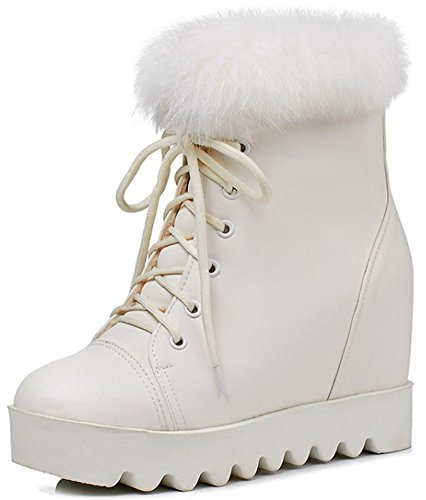 IDIFU Womens Sweet Round Toe High Wedged Heels Inside Lace Up Fluffy Fur Ankle High Booties White nPE0Vbi