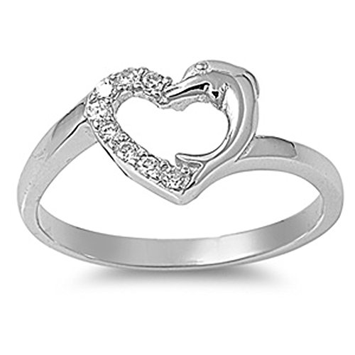 Sterling Silver Dolphin Heart Promise Ring 9MM (Size 4 to 10), 9 ()