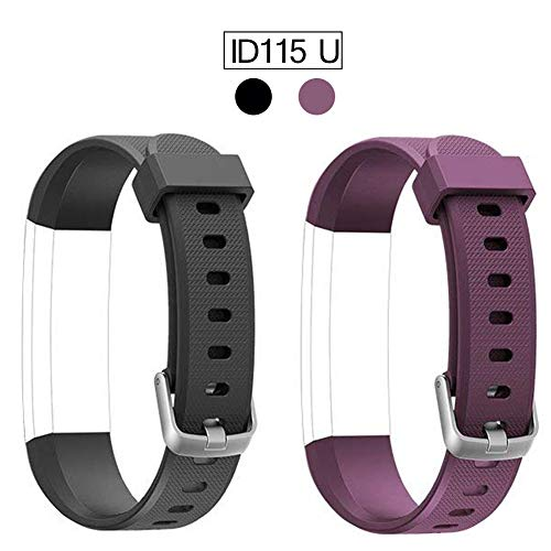 ID115U ID115UHR ID115U HR Replacement Bands, ID115UHR ID115U HR Fitness Tracker Bracelet Band Replacement, Adjustable Wristbands Smart Watch Straps with Fashion Charm Color, 2 Pack, Black Purple (Fitness Tracker Wrist Bands)