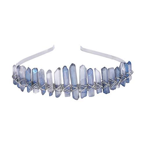 AWAYTR Raw Crystal Quartz Crown - Rhinestone Tiara Mermaid Headband for Woman Weeding and Parties (light blue)
