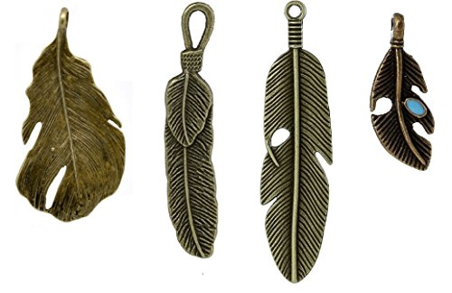 40 PC Feather Charm Pendants Bronze Tone, Jewelry Making DIY (10 of Each) ()