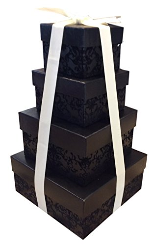 nesting gift boxes with lids 4 assorted sizes for candy treat tower includes ribbon black. Black Bedroom Furniture Sets. Home Design Ideas