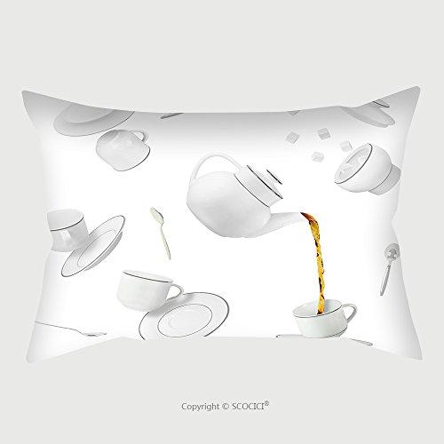 [Custom Cotton Linen Pillowcase Protector Falling Tea Cups, Saucers And Pot_587552170 Pillow Case Covers Decorative] (Linen Rose Saucer)