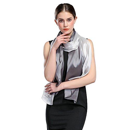 HOYAYO Womens Gradient Colors 100% Pure Silk Scarf Shawl - Soft Lightweight Headscarf for Spring Season(Gray White)