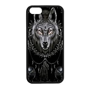 iPhone 5 5S Case,Dream Catcher And Cool Wolf Pattern Cover With Plastic Protective Rubber Case