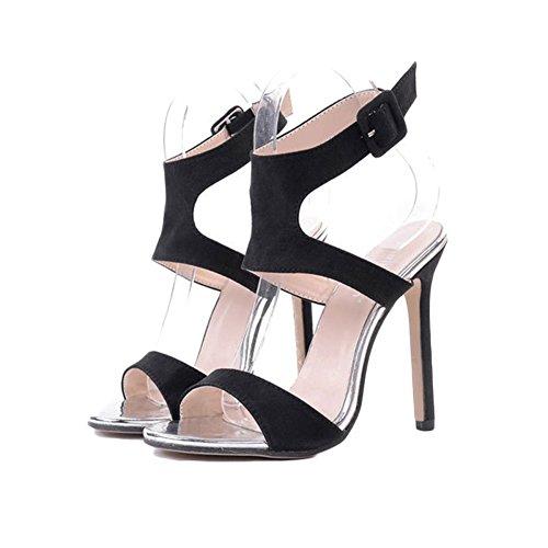 Alto Mujer Peep Sexy con Toe De Tobillo Summer Sandalias Talon Party Fine para Plataforma Correa Impermeable Zapatos Nightclub Negro DE Y6ztnqYU