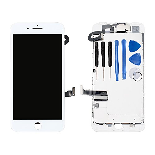 (for iPhone 7 Plus Digitizer Screen Replacement White - Ayake 5.5'' Full LCD Display Assembly with Front Facing Camera, Earpiece Speaker Pre Assembled and Repair Tool Kits)