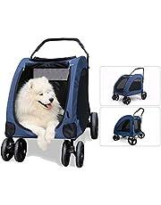 Huisdierentrolley, hondenbuggy Huisdierenbuggy voor honden Grote huisdierenbuggy Opvouwbare huisdiertrolley met 4 wielen 55 kg laadvermogen 360 zwenkwielen (kleur: blauw) Stevig