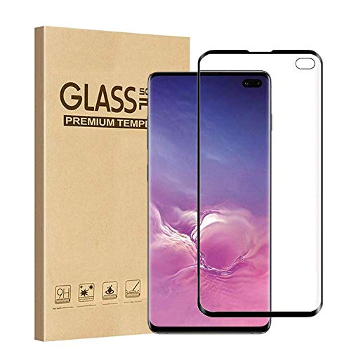 AOSOK Tempered Glass Screen Protector for Galaxy S10 Plus, [Support in-Screen Fingerprint ID] [Full Screen Coverage] [Case Friendly] 3D Curved Tempered Glass for Samsung Galaxy S10+ 2019 (Black)
