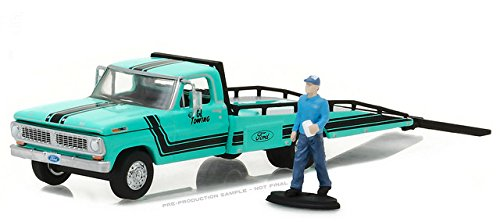 (Greenlight 29892 1970 Ford F-350 Ramp Truck with Truck Driver Figure Hobby Exclusive 1/64 Diecast Model)