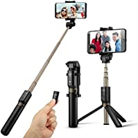 Bluetooth Selfie Stick Tripod with Remote for iphone 6 6s 7 plus Android Samsung Galaxy S7 S8 Plus Edge BlitzWolf 3 in 1 Mini Pocket Extendable Monopod Bluetooth 3.0 Aluminum Alloy 360 Degree Rotation