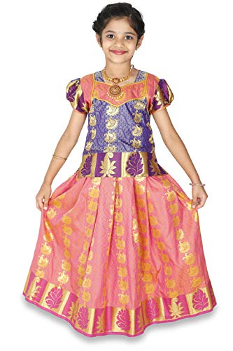 - kaatru Thana Silk Girls Pavadai Set D20 - Lehenga Choli (Pink & Violet) (7-8 Y)