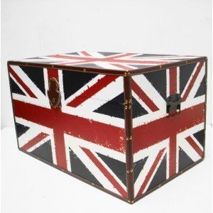 UNION JACK STRONG WOODEN STORAGE UNIT CHEST BOX TRUNK. - LARGE SIZE