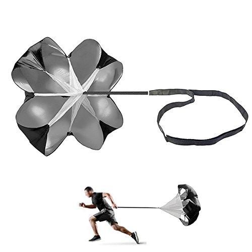 (JEELAD Speed Training Resistance Parachute Running Chute Power for Football Overspeed Training (Black, 40 Inch))