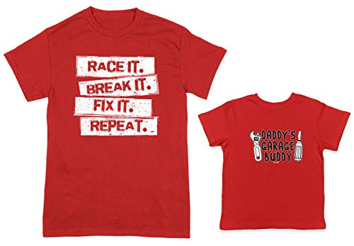 (Race It. Break It. Fix It. / Daddy's Garage Buddy 2-Pack Toddler & Men's T-Shirt (Red/Red, Medium/3T))
