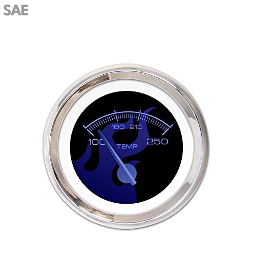 Blue Modern Needles, Chrome Trim Rings, Style Kit DIY Install Aurora Instruments 3516 Ghost Flame Black Blue Flame SAE Water Temperature Gauge