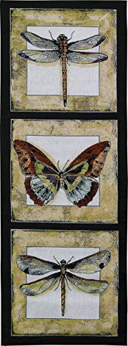 Butterfly Dragonfly II | Woven Tapestry Wall Art Hanging | Butterfly and Dragonfly Panel Art | 100% Cotton USA Size 49x18 ()