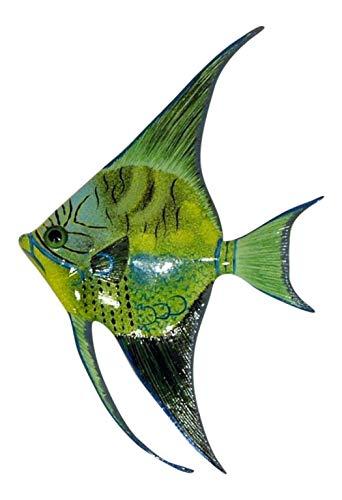 Tropical Bright Yellow Green Striped Angel Fish Hanger Bath Decor