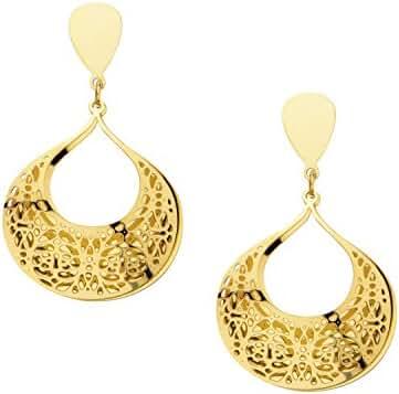 Women's Stainless Steel Gold IP Flower Filigree Double Top Teardrop Earrings.