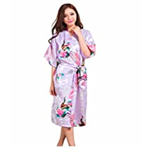 Sirwolf Women's Kimono Robe Printing Lotus Sleeve Silk