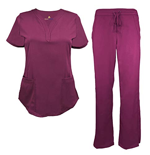Natural Uniforms Women's Ultra Soft Drop-Neck Scrub Set (Burgundy, ()