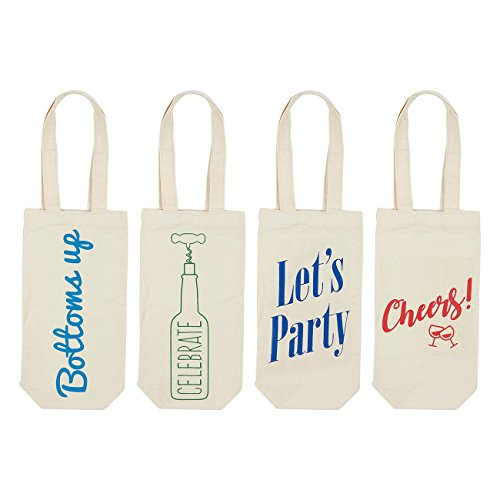 Wine Tote Bags - 4-Pack Wine Carrying Bag Set, Ideal Bottle Gift Bags, Travel Storage Bags, Picnic Wine Accessories, 4 Fun, Unique Designs - 6.5 x 12.2 x 2.8 (750 Ml Gift Set)