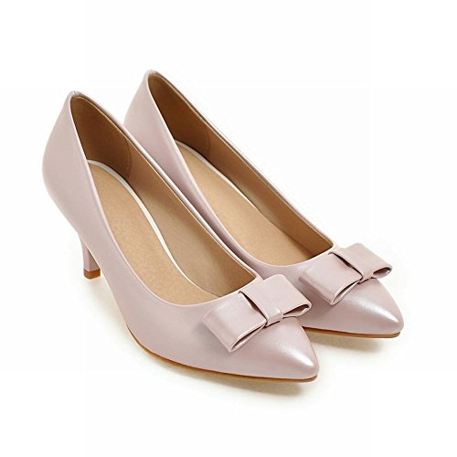 Mee Shoes Women's Charm Slip On High Heel Pointed Toe Bow Upper Court Shoes Pink 97Kzz1PL