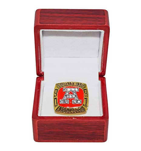 BUFFALO BILLS (Jim Kelly) 1991 AFC WORLD CHAMPIONS Vintage Rare Collectible Replica National Football League Gold NFL Championship Ring with Cherrywood Display Box Trackside Autographs