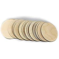 "Gocutouts 3"" Wooden Circle Cutouts Unfinished Baltic Birch Package of 50 (50)"
