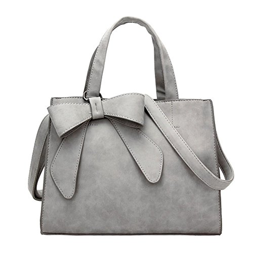 Women's Tote Purses and Handbags Bow Tie Leisure Top-Handle Cross-body Shoulder Bags (Light Grey)