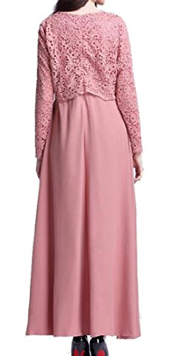 Muslim Lace Arab Pink Long Abaya Coolred Women Solid Dress Sleeve Color wx4xt7qB