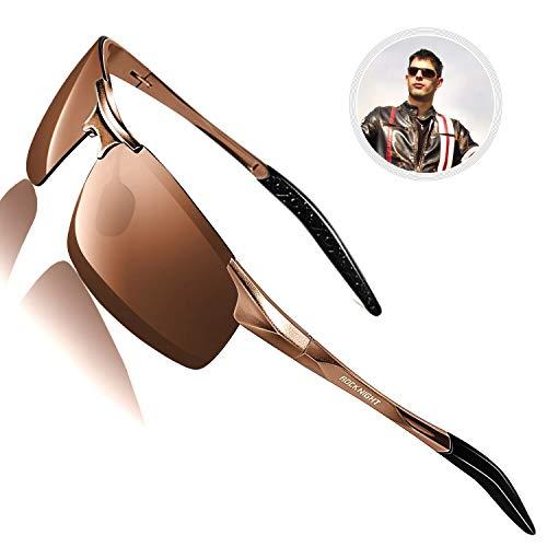 ROCKNIGHT Sports Sunglasses for Men Polarized UV Protection Motorcycle Bike Sunglasses Mens Rectangle Semi Rimless Sunglasses Brown
