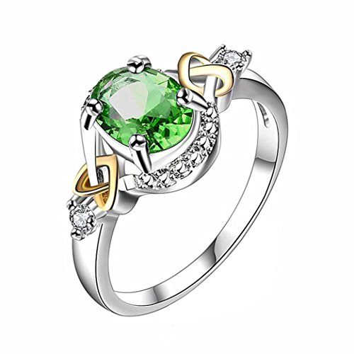 (AutumnFall Women Fashion Wedding Engagement Ring Silver Plated Alloy Crystal Jewelry Rings (Size 6, Green))