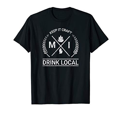 Drink Local Michigan Vintage Craft Beer Brewing T-Shirt