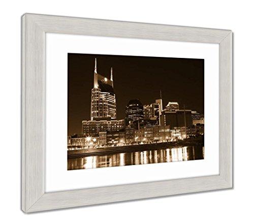 Framed Nashville Tn (Ashley Framed Prints Downtown Nashville Tn, Wall Art Home Decoration, Sepia, 30x26 (Frame Size), Silver Frame, AG5445310)