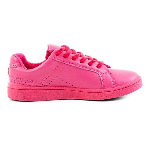 Marimo Super Trendige Vollfarbige Color Damen Schnür Sneaker in Verschiedenen Farben Pink