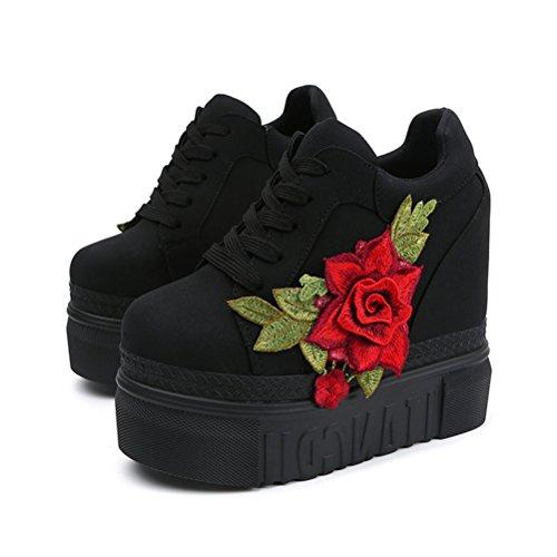 ACE SHOCK Women Fashion Platform Sneakers Wide Width High Hidden Heel Wedge Walking Shoes Flower (8, Black)