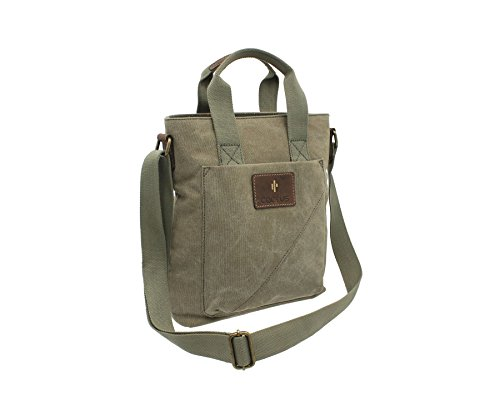 81 Canvas Distressed Grab Bag Denim Khaki Body Leather CACTUS CL811 Oiled and Cross vZEwvd