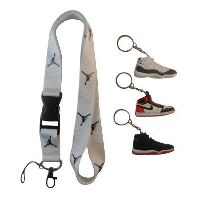 ith Three Jordan Shoe keychains. New!! ()