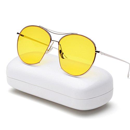 Transparente vanguardia Personalidad sol masculinas Gafas Marco Color femenina amarillas Mirror Gafas Frog Marea HL de YwAq0znUf