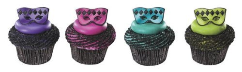 Masquerade Mardi Gras Foil Mask Cupcake Rings - Pack of 24