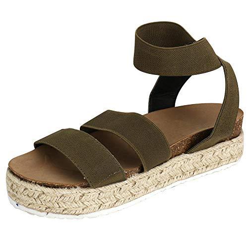 Women Casual Espadrille Slide On Platform Sandals Comfort Open Toe Ankle Elastic Strappy Studded Flatform Sandal Shoes (Green,8.5 M US=EU 39)
